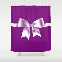 bow Shower Curtains featuring Purple Bow by Pippi Dust