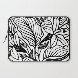 White Black Floral Minimalist Laptop Sleeve