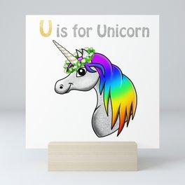 U is for Unicorn Mini Art Print