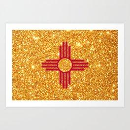 Gold Glitter New Mexico Flag Art Print
