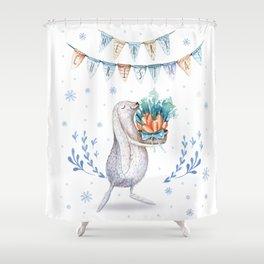 Christmas adorable bunny #1 Shower Curtain