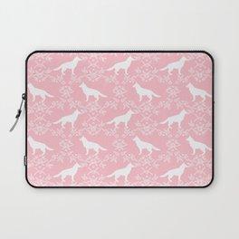 German Shepherd florals dog lovers dog silhouette floral pet pattern dogs Laptop Sleeve