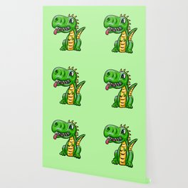 Dino Time! Little Green Dinosaur Wallpaper