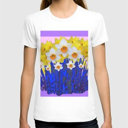 DECORATIVE YELLOW & WHITE DAFFODILS PURPLE BLUE ART T-shirt