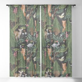 Winter Forest Animals Sheer Curtain