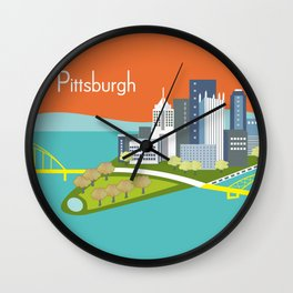 Pittsburgh, Pennsylvania - Skyline Illustration by Loose Petals Wall Clock