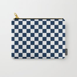 Small Checkered - White and Oxford Blue Carry-All Pouch