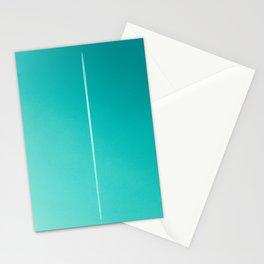 White Plane on Blue Sky Stationery Cards