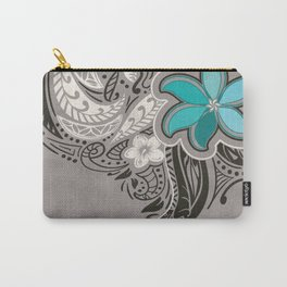 Teal Hawaiian Floral Tattoo Design Carry-All Pouch