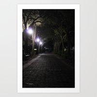 Night/Path/Cobblestone/Vintage/Walking Art Print