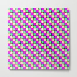 Violet Mint and Coral Patchwork Metal Print