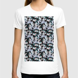 patterned with a leopard cub with its mother surrounded by the Chinese flower. T-shirt