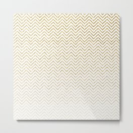 Gold Glitter Ombre Chevrons Metal Print