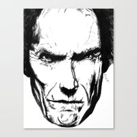 clint eastwood Canvas Prints featuring Clint Eastwood by Zombie Rust