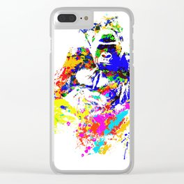 Silverback Lowland Gorilla Splatter Paint Effect Clear iPhone Case