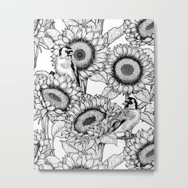 Sunflowers and goldfinches in black and white Metal Print