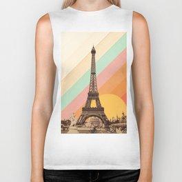 Rainbow Sky Above The Eiffel Tower Biker Tank