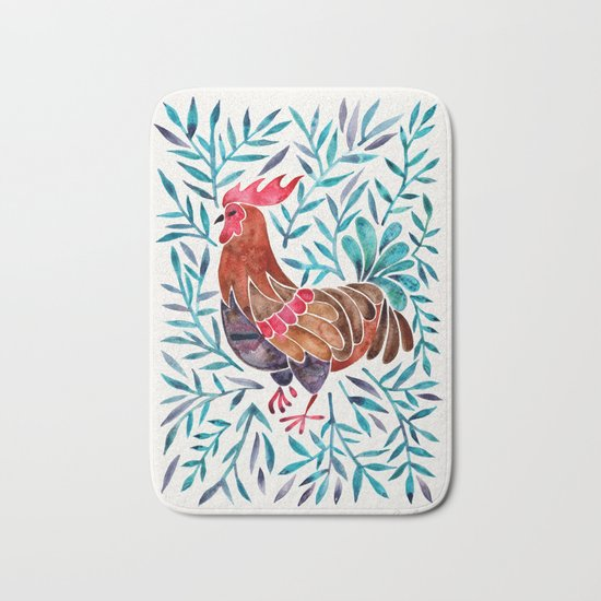 Le Coq – Watercolor Rooster with Turquoise Leaves Bath Mat