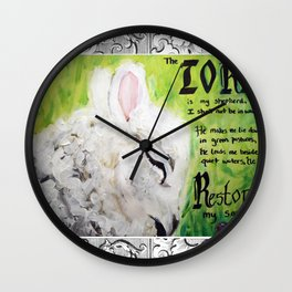 The Lord Restores Psalm 23 Wall Clock