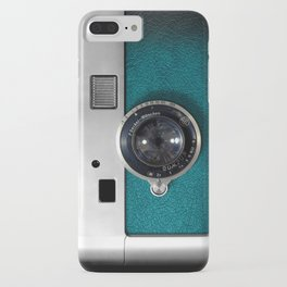 Classic retro Blue Teal Leather silver Germany vintage camera iPhone 4 4s 5 5c, ipod, ipad case iPhone Case