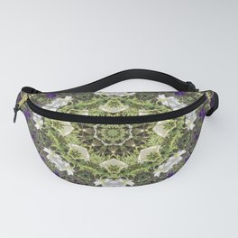 Icy White and Rich Violet Petunias Kaleidoscope Fanny Pack