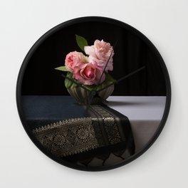 Roses and silk still life Wall Clock