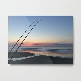Sunset Beach Fishing Metal Print
