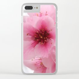 Pink Peach Tree Blossom Clear iPhone Case