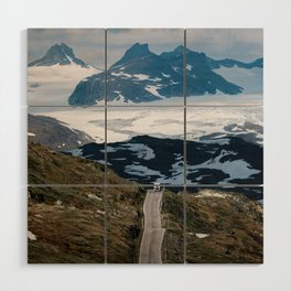 Caravan along a mountain road in Norway - Landscape Photography Wood Wall Art
