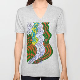 Waves Lines Black and Blue Lines - Colored Unisex V-Neck