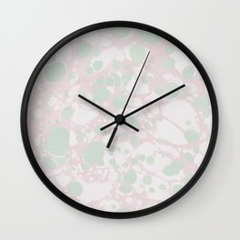 Pastel Paint Spill Pattern Green, Pink, White Wall Clock