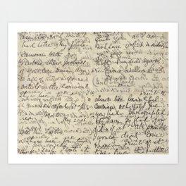 Ancient Script Calligraphy Vintage Print Art Print