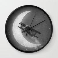 aviation Wall Clocks featuring Night Flight  by Terry Fan