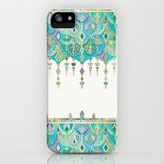 Art Deco Double Drop in Jade and Aquamarine on Cream iPhone (5, 5s) Slim Case