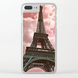 The Eiffel Tower in Pink Clear iPhone Case
