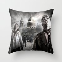 zombies Throw Pillows featuring Zombies by Joe Roberts