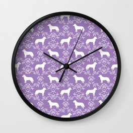 Australian Cattle Dog minimal floral silhouette pattern lavender and white dog art Wall Clock