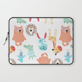 Cute Colorful Youth Print of Adorable Baby Animals Pattern Laptop Sleeve