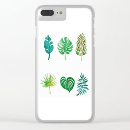 Tropical Palm Fronds Watercolor Study Clear iPhone Case