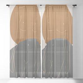 Line Female Figure 81 Sheer Curtain