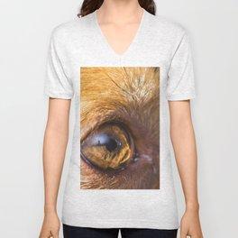 Eye details of a brown dog Unisex V-Neck