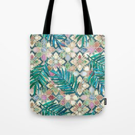 Muted Moroccan Mosaic Tiles with Palm Leaves Tote Bag
