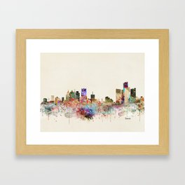 detroit michigan skyline Framed Art Print