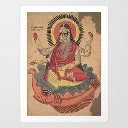 The Goddess Ganga - 19th Century Classical Hindu Art Art Print