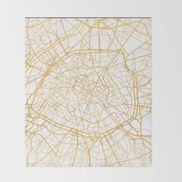PARIS FRANCE CITY STREET MAP ART Throw Blanket