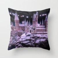 hogwarts Throw Pillows featuring Hogwarts by Samantha Van Prooyen
