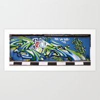 sticker Art Prints featuring Sticker wall by squadcore