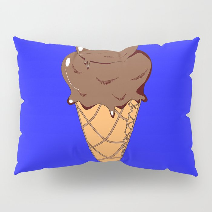 A Chocolate Ice Cream Cone with Blue Background, Summer Fun Pillow Sham