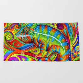 Psychedelizard Colorful Psychedelic Chameleon Rainbow Lizard Beach Towel