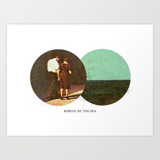 Boring by The Sea | Collage Art Print